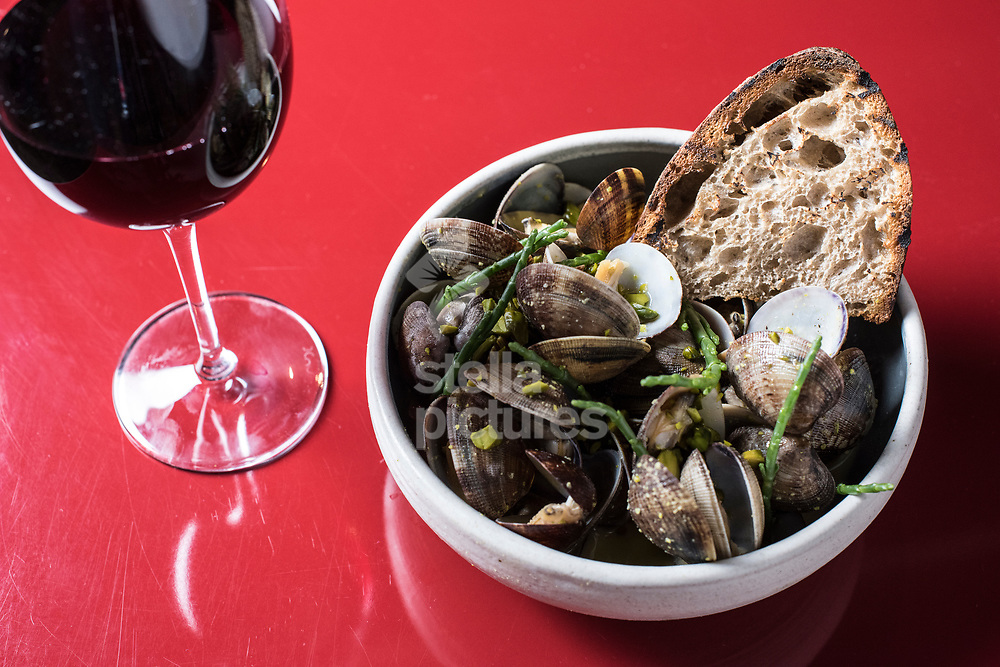 Clams with pistachio beurre and house bread at Nuala as part of the restaurant review.<br /> Picture by Daniel Hambury/@stellapicsltd 07813022858<br /> 19/01/2018