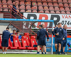 31JUL21 Partick Thistle's manager Ian McCall and Queen of the South's Manager Allan Johnston in the stand at the end. Partick Thistle 3 v 2 Queen of the South. First Scottish Championship game of the season.
