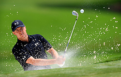 Jordan Spieth hits from a sand bunker along the 15th green during practice for the PGA Championship on Wednesday, August 9, 2017 at Quail Hollow Club in Charlotte, NC. (Photo by Jeff Siner/Charlotte Observer/TNS/Sipa USA) *** Please Use Credit from Credit Field ***
