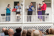 Jeffersonville, New York - The Weekend of Chamber Music Wind Quintet, with flutist Judith Pearce, oboist Matt Sullivan, clarinetist Pascal Archer, French hornist Adam Schommer and bassoonist Gina Cuffari, perform an outdoor concert at the Presbyterian Church in Jeffersonville on July 12, 2015.