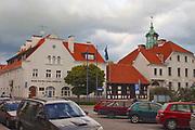 Strażnica Bośniacka i ratusz miejski, centrum Mrągowa, Polska<br /> Bosnia watchtower and town hall, center of Mrągowo, Poland