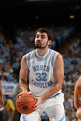 CHAPEL HILL, NC - FEBRUARY 05: Luke Maye #32 of the North Carolina Tar Heels shoots a foul shot during a game against the North Carolina State Wolfpack on February 05, 2019 at the Dean Smith Center in Chapel Hill, North Carolina. North Carolina won 113-96. North Carolina wore retro uniforms to honor the 50th anniversary of the 1967-69 team. (Photo by Peyton Williams/UNC/Getty Images) *** Local Caption *** Luke Maye
