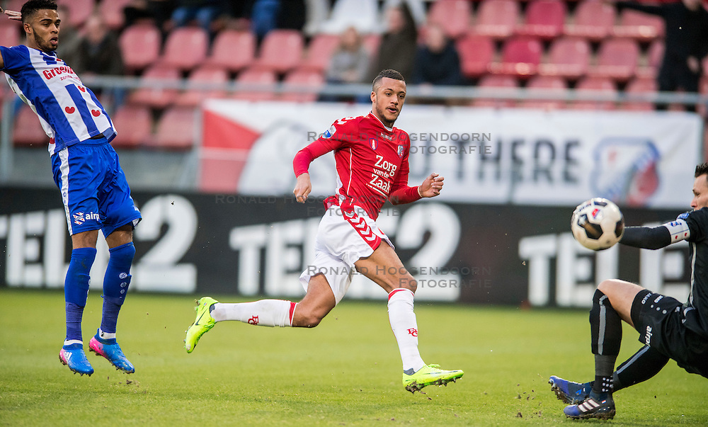 05-02-2017 NED: FC Utrecht - Heerenveen, Utrecht<br /> 21e speelronde van seizoen 2016-2017, Nieuw Galgenwaard / Richairo Zivkovic #9 schiet de bal voorlangs