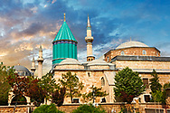 The Mevlâna museum, with the blue domed   mausoleum of Jalal ad-Din Muhammad Rumi, a Sufi mystic also known as Mevlâna or Rumi. It was also the dervish lodge (tekke) of the Mevlevi order, better known as the whirling dervishes. Mevlâna died on 17 December 1273. Konya, Turkey