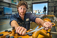 Carnegie Wave Energy in North Freemantle. Mechanical Fitter Lyle Mitchell works with the pump. Photo By Craig Sillitoe This photograph can be used for non commercial uses with attribution. Credit: Craig Sillitoe Photography / http://www.csillitoe.com<br /> <br /> It is protected under the Creative Commons Attribution-NonCommercial-ShareAlike 4.0 International License. To view a copy of this license, visit http://creativecommons.org/licenses/by-nc-sa/4.0/. This photograph can be used for non commercial uses with attribution. Credit: Craig Sillitoe Photography / http://www.csillitoe.com<br /> <br /> It is protected under the Creative Commons Attribution-NonCommercial-ShareAlike 4.0 International License. To view a copy of this license, visit http://creativecommons.org/licenses/by-nc-sa/4.0/.