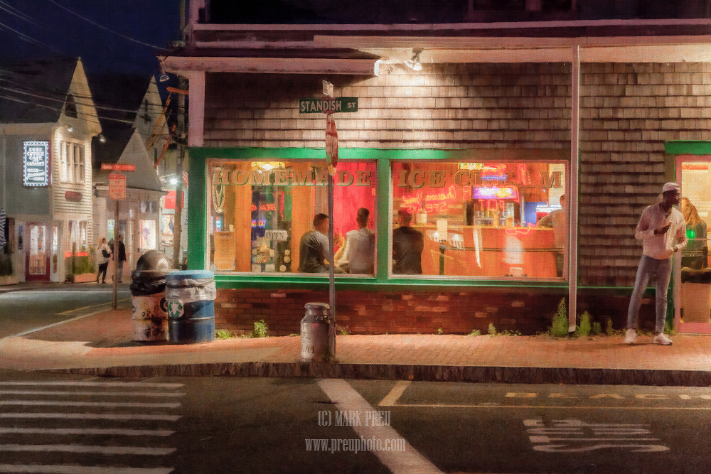 While doing night-time street photography in Provincetown, I saw this scene and was immediatley reminded of Edward Hopper's Nighthawks. I used Snap Art and Lightroom to render it in an artistic fashion.