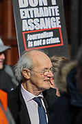 February 22, 2020, London, England, United Kingdom: Assange's Father Richard attends a protest outside Australia House against the extradition of Wikileaks founder Julian Assange, in London, Saturday, Feb. 22, 2020. (Credit Image: © Vedat Xhymshiti/ZUMA Wire)