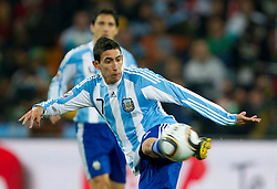 Angel Di Maria of Argentina during the 2010 FIFA World Cup South Africa Round of Sixteen match between Argentina and Mexico at Soccer City Stadium on June 27, 2010 in Johannesburg, South Africa. Argentina defeated Mexico 3-1 and qualified for quarterfinals. (Photo by Vid Ponikvar / Sportida)