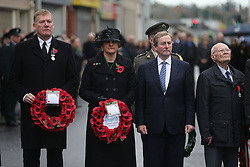 First Minister Arlene Foster and Taoiseach Enda Kenny (second right) at a Remembrance Sunday service at the Cenotaph in Enniskillen, held in tribute for members of the armed forces who have died in major conflicts.