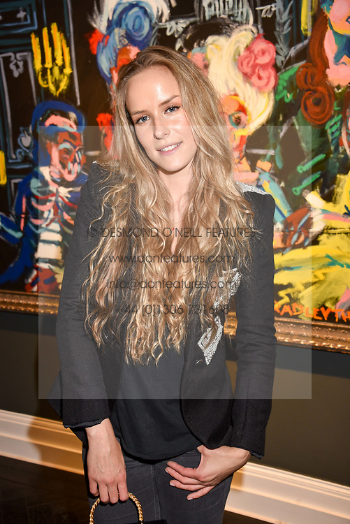 Hum Fleming at a private view of work by Bradley Theodore entitled 'The Second Coming' at the Maddox Gallery, 9 Maddox Street, London England. 19 April 2017.