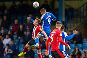Lincoln City defender Callum Connolly (20) and Gillingham FC forward Mikael Mandron (9) during the EFL Sky Bet League 1 match between Gillingham and Lincoln City at the MEMS Priestfield Stadium, Gillingham, England on 16 November 2019.
