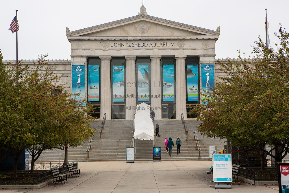 People enter the Shedd Aquarium in Chicago USA