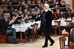 Karl Lagerfeld during the runway during the Chanel show as part of the Paris Fashion Week Womenswear Fall/Winter 2015/2016 on March 10, 2015 in Paris, France. Photo by Nicolas Gouhier/ABACAPRESS.COM