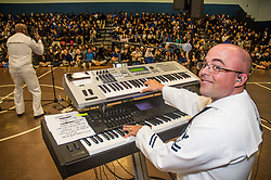 MILLINGTON, Tenn. (May 8, 2017) Musician 2nd Class Daniel Oren, assigned to the U.S. Fleet Forces Band, Four Star Edition, plays keyboards during a performance at Millington Middle School in Millington, Tenn., during Memphis Navy Week. Memphis is one of select regions to host a Navy Week, which is dedicated to raise U.S. Navy awareness in through local outreach, community service and exhibitions. (U.S. Navy photo by Mass Communication Specialist 2nd Class Brian T. Glunt/Released) 170510-N-RN782-019<br /> Join the conversation:<br /> http://www.navy.mil/viewGallery.asp<br /> http://www.facebook.com/USNavy<br /> http://www.twitter.com/USNavy<br /> http://navylive.dodlive.mil<br /> http://pinterest.com<br /> https://plus.google.com