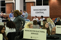 June 8, 2017 - Manchester, Greater Manchester, UK - Manchester , UK . Counting area for Manchester Central . The count for the constituencies of Blackley and Broughton, Manchester Central, Manchester Gorton, Manchester Withington and Wythenshawe and Sale East, in the General Election, at the Manchester Central Convention Centre  (Credit Image: © Joel Goodman/London News Pictures via ZUMA Wire)