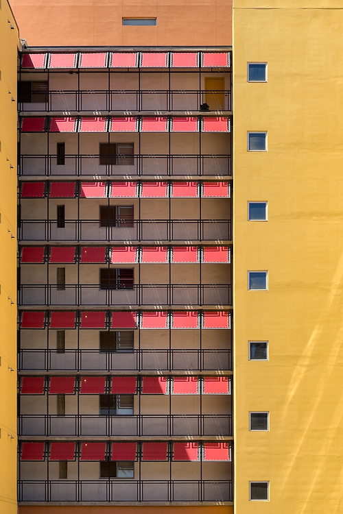 Colors and shadows on an apartment building in downtown Phoenix, Arizona combine for an interesting effect.