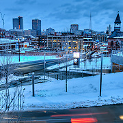Kansas City's Crossroads District in snow from Kauffman Center.