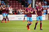 Scunthorpe United's Rory McArdle (23) and Scunthorpe United's Josh Morris (11) clap the fans after the EFL Sky Bet League 1 match between Scunthorpe United and Rotherham United at Glanford Park, Scunthorpe, England on 12 May 2018. Picture by Nigel Cole.
