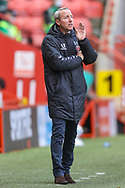 Charlton Athletic manager Lee Bowyer gesturing during the EFL Sky Bet League 1 match between Charlton Athletic and AFC Wimbledon at The Valley, London, England on 12 December 2020.