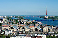 View from St Peter's Church spire, including the former zeppelin hangers of the Central Market, Riga, Latvia © Rudolf Abraham