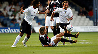 Photo: Marc Atkins.<br /> Luton Town v Fulham. Pre Season Friendly. 21/07/2006.<br /> Fulham's Jimmy Bullard is felled by the Luton Town opposition.