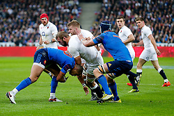 England Flanker Chris Robshaw is tackled by France Outside Centre Gael Fickou - Mandatory byline: Rogan Thomson/JMP - 19/03/2016 - RUGBY UNION - Stade de France - Paris, France - France v England - RBS 6 Nations 2016.