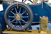 Spare wheel of vintage Standard car made in Coventry, Gloucestershire, United Kingdom
