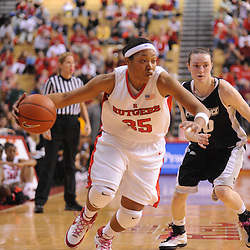 Feb 21, 2009; Piscataway, NJ, USA; Rutgers guard Brittany Ray (35) carries the ball into the corner during the second half of Rutgers' 55-42 victory over Providence at the Louis Brown Athletic Center.