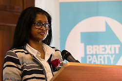© Licensed to London News Pictures. 23/04/2019. London, UK. Christina Jordan speaking at a Brexit Party candidate launch event in London. Nigel Farage launched his new political party, the Brexit Party earlier this month, to campaign for the European elections. Photo credit: Vickie Flores/LNP
