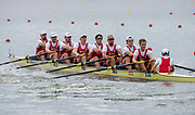 "Glasgow, Scotland, ""2nd August 2018"", View, NED M8+, moving away from the Start, in a heat of the men's Eights European Games, Rowing, Strathclyde Park, North Lanarkshire, © Peter SPURRIER/Alama Live News, NED M8+, <br /> VAN DER WANT, Vincent<br /> <br /> Position: Bow, Boudewijn<br /> ROELL, Maarten<br /> HURKMANS, Simon<br /> VAN DORP, Mechiel<br /> VERSLUIS,  Ruben<br /> KNAB, Lex<br /> VAN DEN HERIK, Freek<br /> ROBBERS and cox Diederik<br /> VAN ENGELENBURG,"