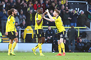 Burton Albion forward Lucas Akins (10) scores a goal and celebrates with Burton Albion's Stephen Quinn 1-0  during the EFL Sky Bet League 1 match between Burton Albion and Wycombe Wanderers at the Pirelli Stadium, Burton upon Trent, England on 26 December 2018.