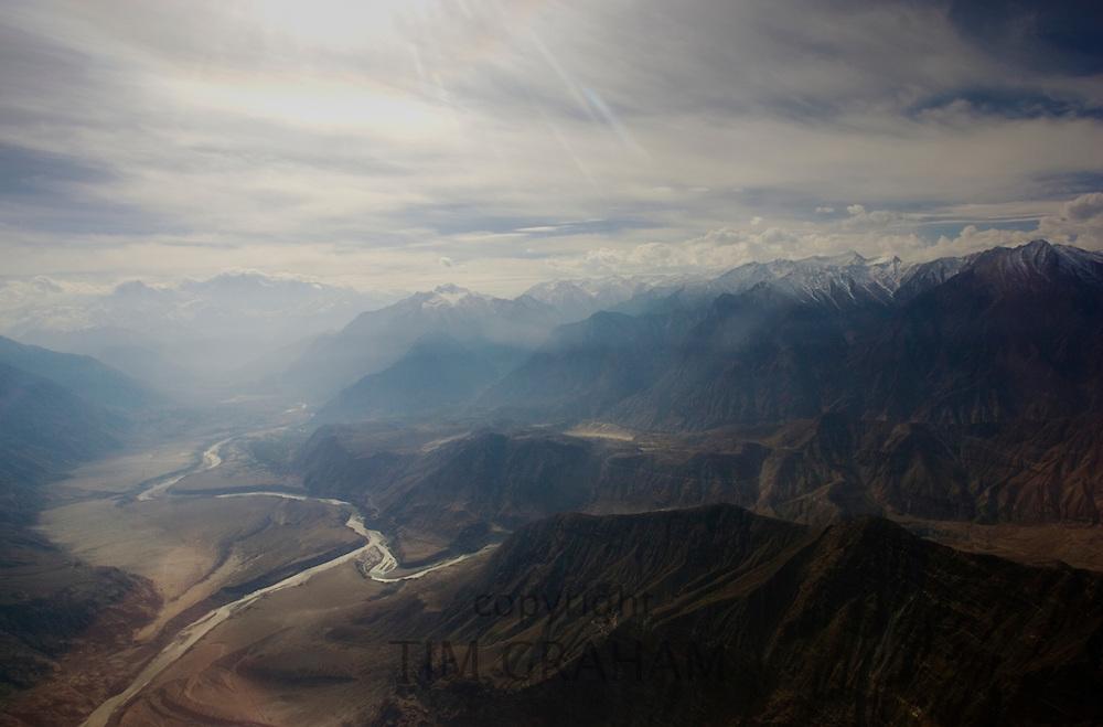 Peaks and valley rivers of Karokoram Mountains, Skardu Valley, North Pakistan