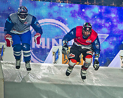 04-02-2012 SKATING: RED BULL CRASHED ICE WORLD CHAMPIONSHIP: VALKENBURG<br /> (L-R) Lev Kurnakov RUS, Scott Croxall CAN<br /> ©2012-FotoHoogendoorn.nl / Peter Schalk