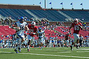 DALLAS, TX - OCTOBER 25:  Jason Stewart #15 of the Memphis Tigers scrambles against the SMU Mustangs during the 4th quarter on October 25, 2014 at Gerald J. Ford Stadium in Dallas, Texas.  (Photo by Cooper Neill/Getty Images) *** Local Caption *** Jason Stewart