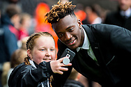Tammy Abraham takes a selfie with a young fan. Premier league match, Swansea city v Leicester city at the Liberty Stadium in Swansea, South Wales on Saturday 21st October 2017.<br /> pic by Aled Llywelyn, Andrew Orchard sports photography.