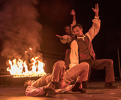 Celebrating the 250th anniversary of the circus, the contemporary circus Cirque Berserk starts its 2018 UK tour in Edinburgh. The international troupe includes over thirty jugglers, acrobats, aerialists, dancers, drummers and daredevil stuntmen.<br /> <br /> Pictured; The Timbuktu Tumblers with a limbo dance under a fire-light bar