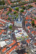 Nederland, Zeeland, Walcheren, 09-05-2013; centrum Middelburg, markt op de Markt bij het stadhuis.<br /> Capital of the province of Zealand. <br /> luchtfoto (toeslag op standard tarieven)<br /> aerial photo (additional fee required)<br /> copyright foto/photo Siebe Swart