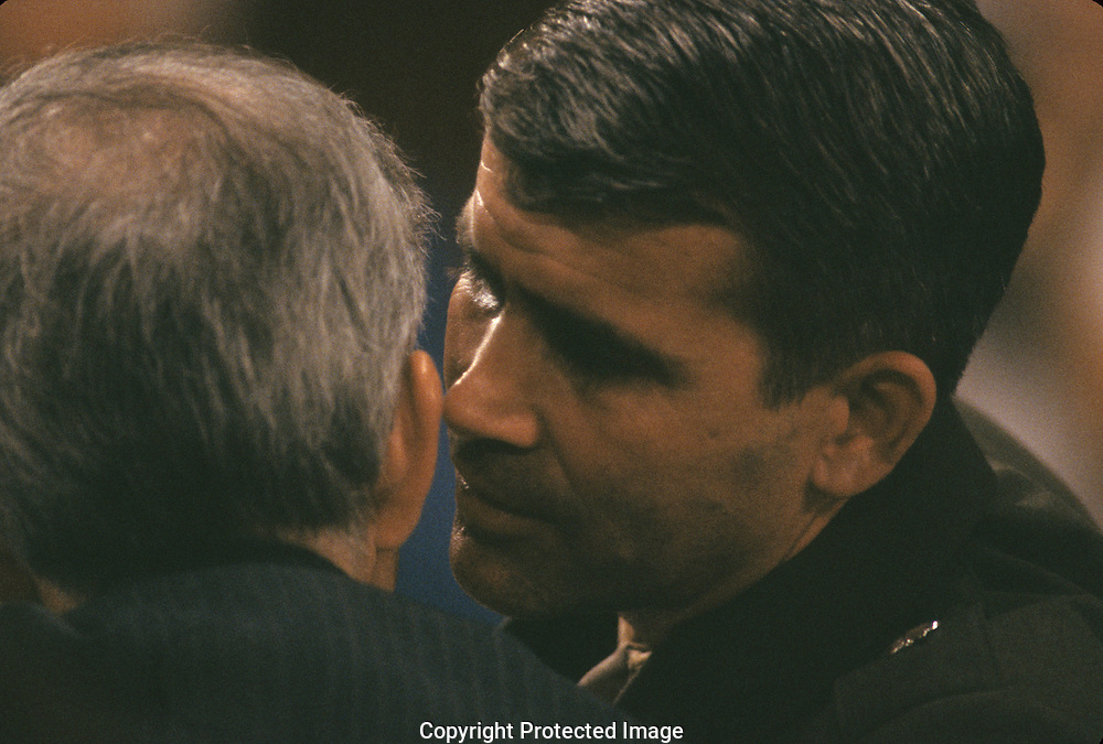 Oliver North and Lawyer Brenden Sullivan at the Iran Contra hearings in Juyly 1987..Photograph by Dennis Brack bb 27