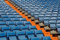 THEMENBILD, ESTADIO SANTIAGO BERNABEU, es ist das Fußballstadion des spanischen Vereins Real Madrid. Es liegt im Zentrum der Stadt Madrid im Viertel Chamartin. Seit der letzten Modernisierung im Jahr 2005 fasst es 80.354 Zuschauer und ist seit 14. November 2007 als UEFA-Elite-Stadion ausgezeichnet, der hoechsten Klassifikation des Europaeischen Fußballverbandes. Das Stadion wurde am 14. Dezember 1947 als Nuevo Estadio Chamartin mit 75.000 Plaetzen offiziell eroeffnet. Am 14. Januar 1955 stimmte die Mitgliederversammlung des Klubs für die Umbenennung des Stadions zu Ehren des damaligen Vereinspraesidenten Santiago Bernabeu, nach dessen Vision die Spielstaette gebaut wurde. Im Bild Sitzreihen. Bild aufgenommen am 27.03.2012. EXPA Pictures © 2012, PhotoCredit: EXPA/ Eibner/ Michael Weber..***** ATTENTION - OUT OF GER *****
