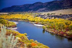 Fall Colors, Snake River, Ririe, Idaho, golden, cottonwood, aspen, Stormy sky,