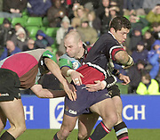 Twickenham. Surrey, UK., 23 February 2002, Zurich Premiership Rugby,  The Stoop Memorial Ground,   Gloucesters, Henry Paul crash's through the Harlequins defence, [L] Will GREENWOOD, [R] Paul BURKE,<br />  during the, NEC Harlequins vs Gloucester Rugby,<br /> [Mandatory Credit: Peter Spurrier/Intersport Images],