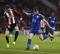 Leicester City's Ben Chilwell shoots past Sheffield United's John Lundstram<br /> <br /> Photographer Stephen White/CameraSport<br /> <br /> The Carabao Cup Second Round - Sheffield United v Leicester City - Tuesday 22nd August 2017 - Bramall Lane - Sheffield<br />  <br /> World Copyright © 2017 CameraSport. All rights reserved. 43 Linden Ave. Countesthorpe. Leicester. England. LE8 5PG - Tel: +44 (0) 116 277 4147 - admin@camerasport.com - www.camerasport.com