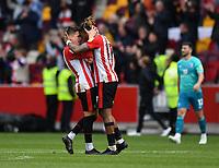 Football - 2020 / 2021 Sky Bet Championship - Semi-final play-offs - Second leg - Brentford vs AFC Bournemouth - Brentford Community Stadium<br /> <br /> Ivan Toney of Brentford embraces Sergi Canos at the final whistle.<br /> <br /> COLORSPORT/ASHLEY WESTERN