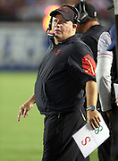 San Francisco 49ers head coach Chip Kelly looks on from the sideline during the 2016 NFL preseason football game against the San Diego Chargers on Thursday, Sept. 1, 2016 in San Diego. The 49ers won the game 31-21. (©Paul Anthony Spinelli)