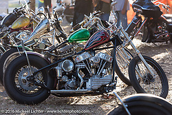 Chris Wade's custom 1953 HD Panhead that won the Easyriders Magazine and Lowride Italy awards in the Harley-Davidson Editors Choice bike show at the Broken Spoke Saloon. Daytona Bike Week 75th Anniversary event. FL, USA. Wednesday March 9, 2016.  Photography ©2016 Michael Lichter.