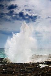 Blowhole, Spouting Horn Beach Park, Po`ipu, Kauai, Hawaii, Pacific Ocean