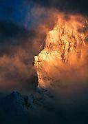 Chamlang, sunset, Hinku valley near Baruntse, Barun - Makalu National Park, Nepal