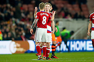 Middlesbrough midfielder Grant Leadbitter (7) scores a goal and celebrates with Middlesbrough midfielder Adam Clayton (8) to make the score 1-0 during the The FA Cup match between Middlesbrough and Sheffield Wednesday at the Riverside Stadium, Middlesbrough, England on 8 January 2017. Photo by Simon Davies.