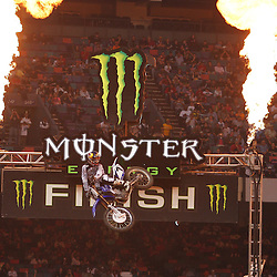 14 March 2009: James M Stewart (7) celebrates as he takes first place during the Main Event of the Monster Energy AMA Supercross race at the Louisiana Superdome in New Orleans, Louisiana