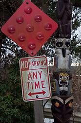 No parking sign and totem poll, Snohomish, Washington, US